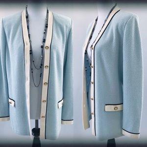 St. John Collection Blue Blazer Cardigan 8 EUC